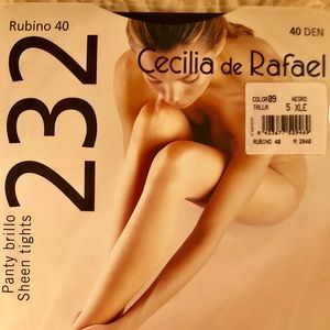 Tights Cecilia de Rafael Black Sheen  NWT